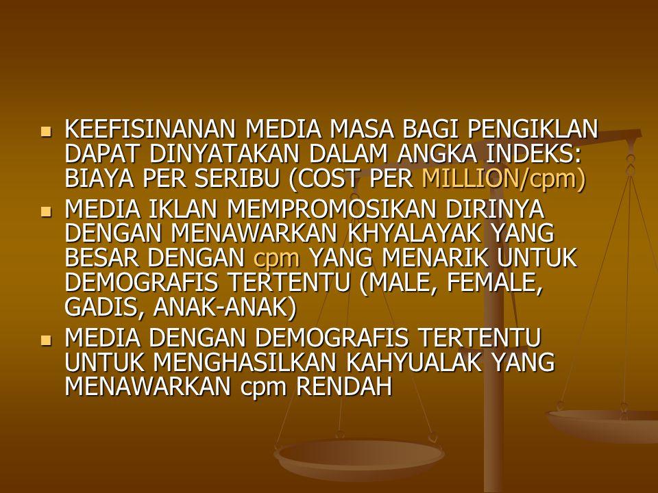 KEEFISINANAN MEDIA MASA BAGI PENGIKLAN DAPAT DINYATAKAN DALAM ANGKA INDEKS: BIAYA PER SERIBU (COST PER MILLION/cpm)