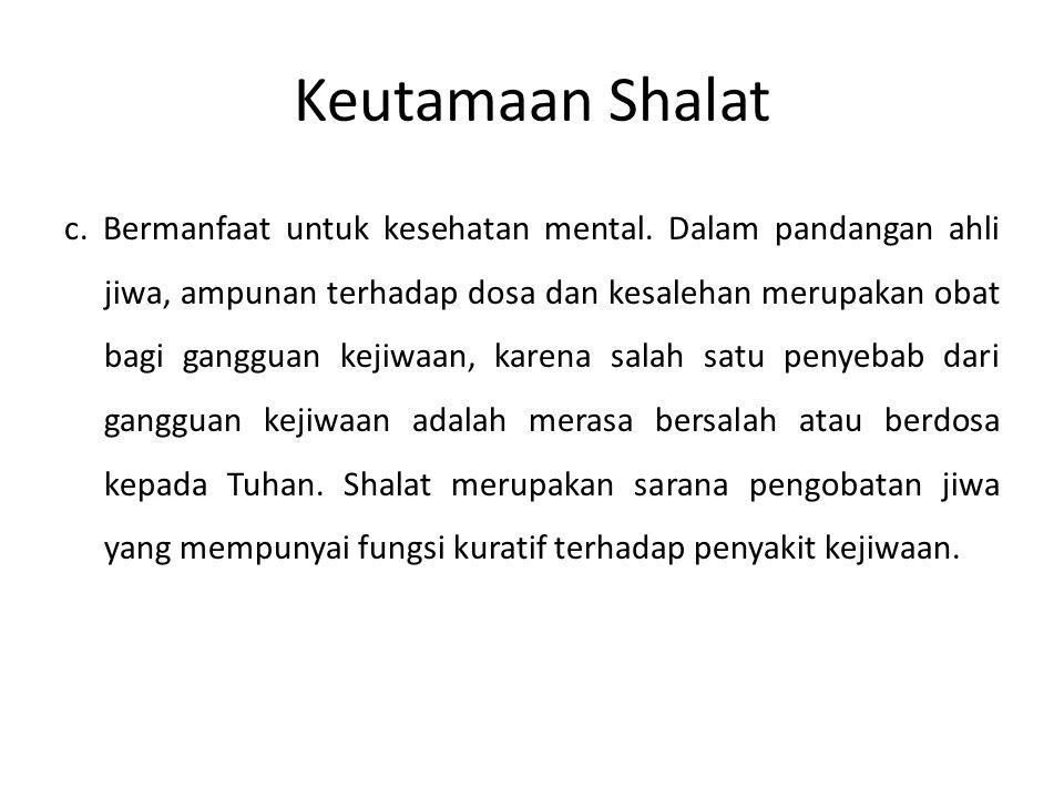 Keutamaan Shalat