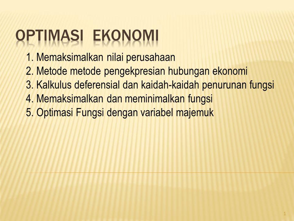 Optimasi ekonomi 1. Memaksimalkan nilai perusahaan