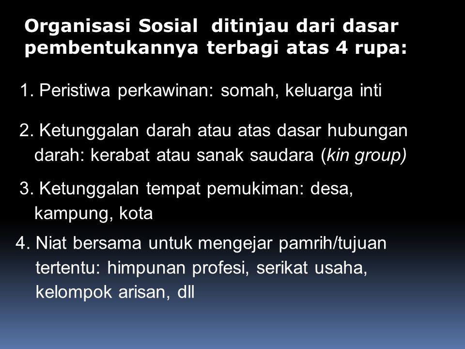 Organisasi Sosial ditinjau dari dasar pembentukannya terbagi atas 4 rupa: