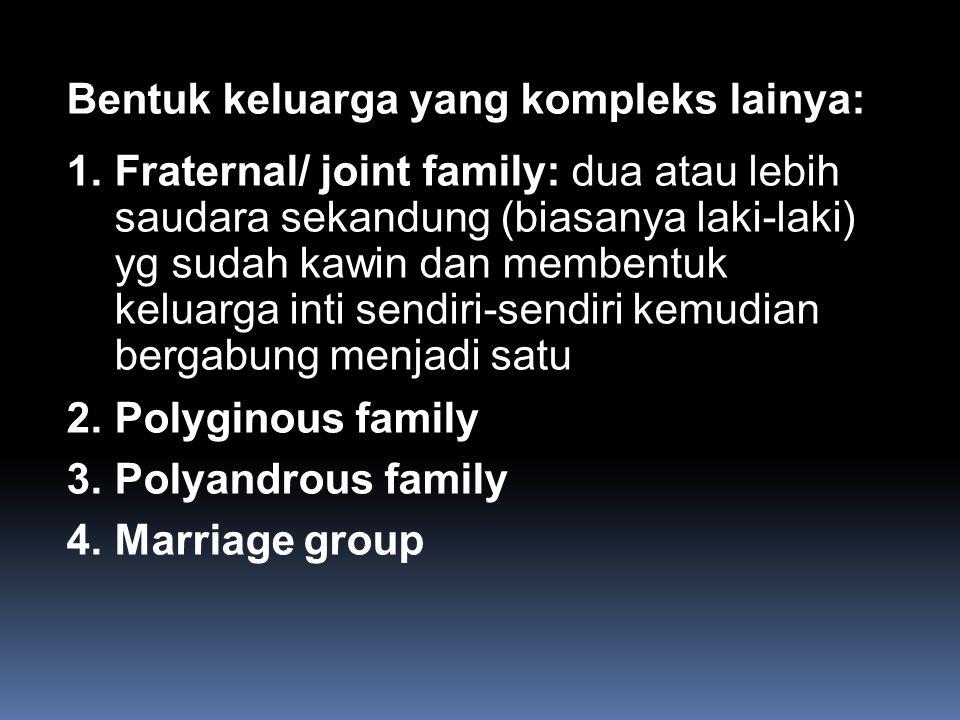 Bentuk keluarga yang kompleks lainya: