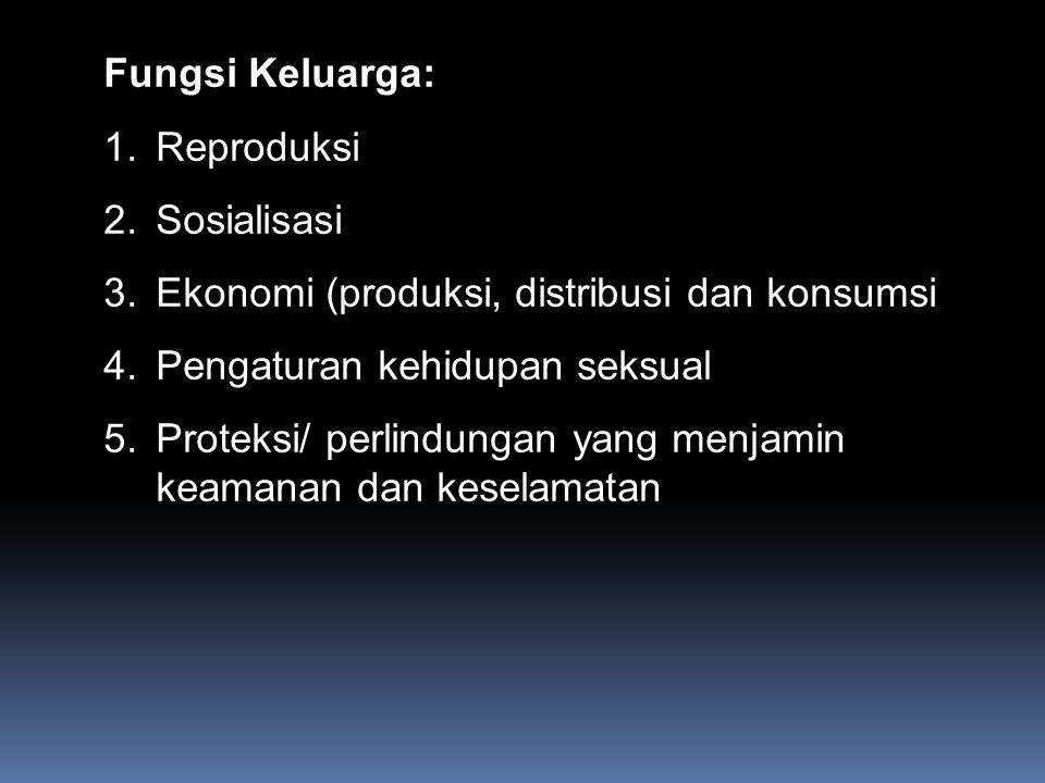 Fungsi Keluarga: Reproduksi. Sosialisasi. Ekonomi (produksi, distribusi dan konsumsi. Pengaturan kehidupan seksual.