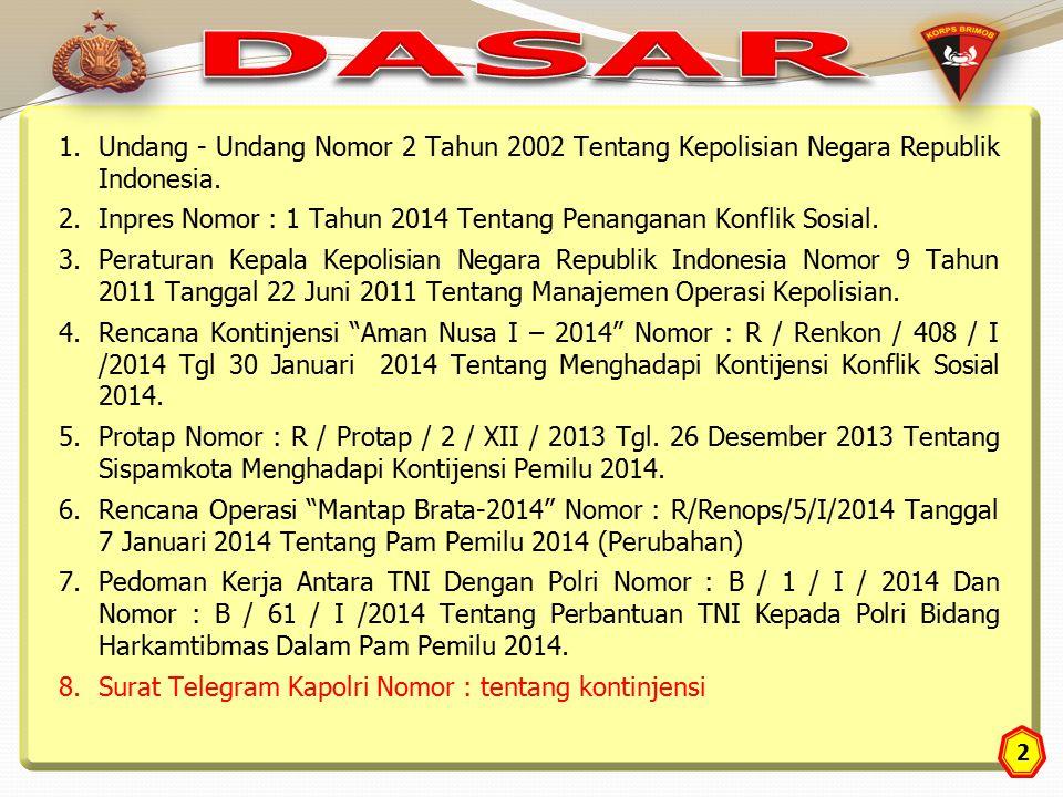 DASAR Undang - Undang Nomor 2 Tahun 2002 Tentang Kepolisian Negara Republik Indonesia.