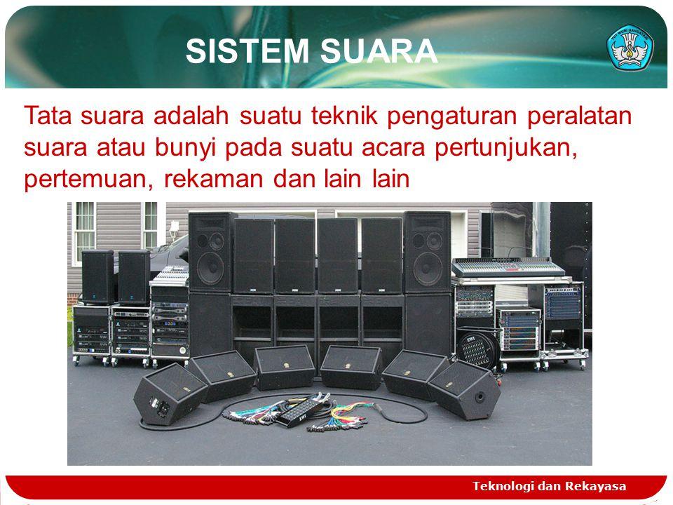 SISTEM SUARA Tata suara adalah suatu teknik pengaturan peralatan suara atau bunyi pada suatu acara pertunjukan, pertemuan, rekaman dan lain lain.