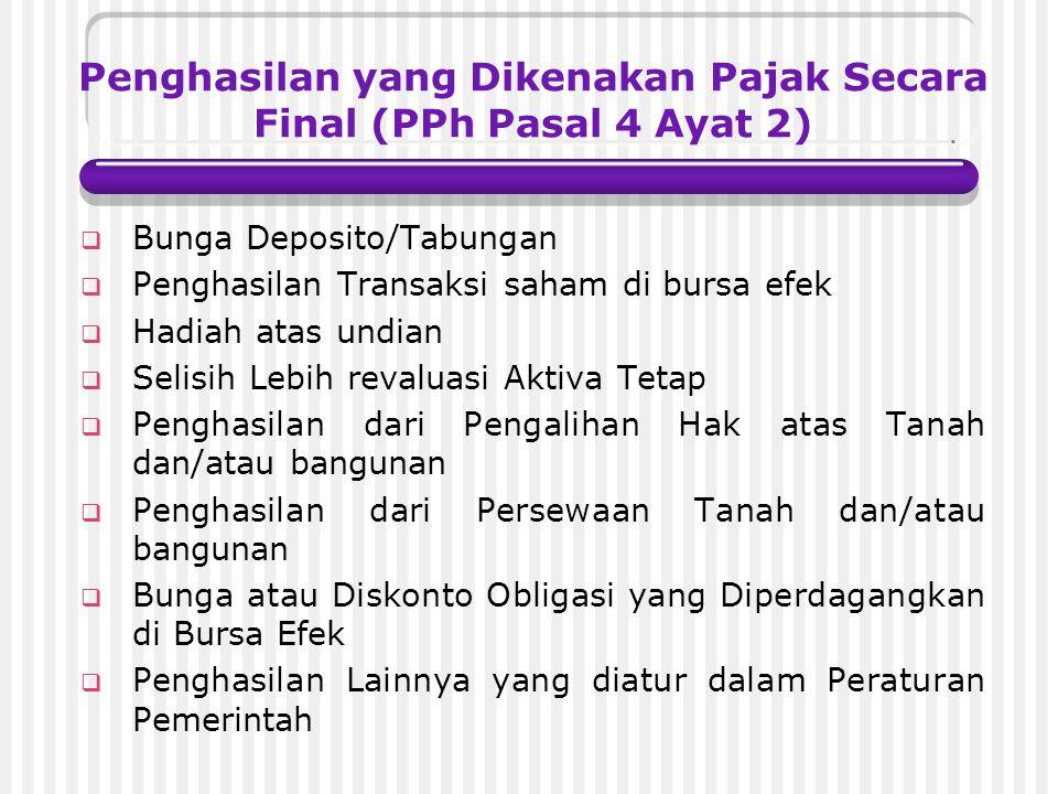 Penghasilan yang Dikenakan Pajak Secara Final (PPh Pasal 4 Ayat 2)
