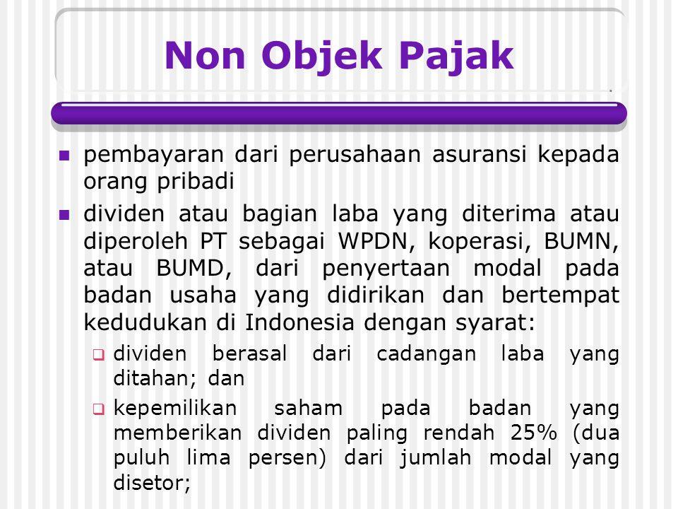 Non Objek Pajak pembayaran dari perusahaan asuransi kepada orang pribadi.