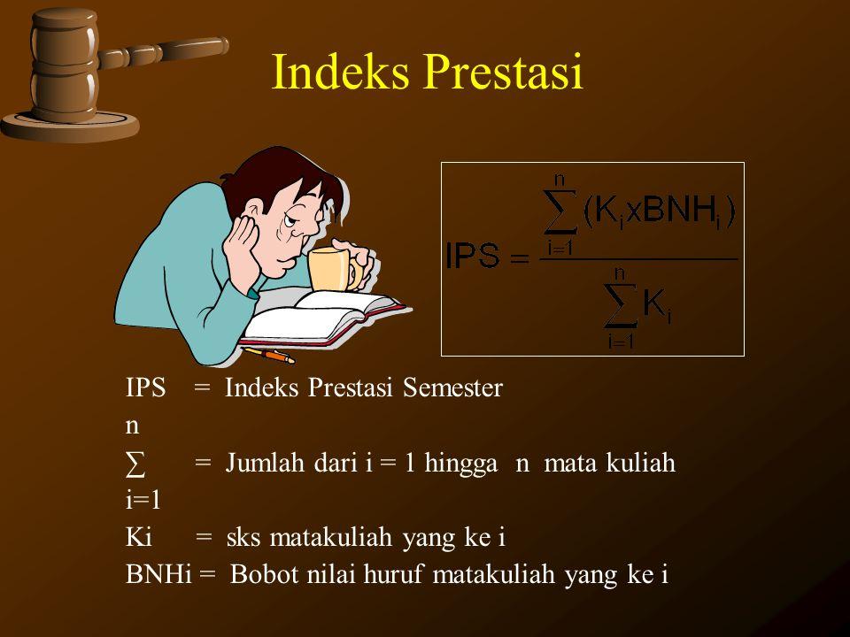 Indeks Prestasi IPS = Indeks Prestasi Semester n