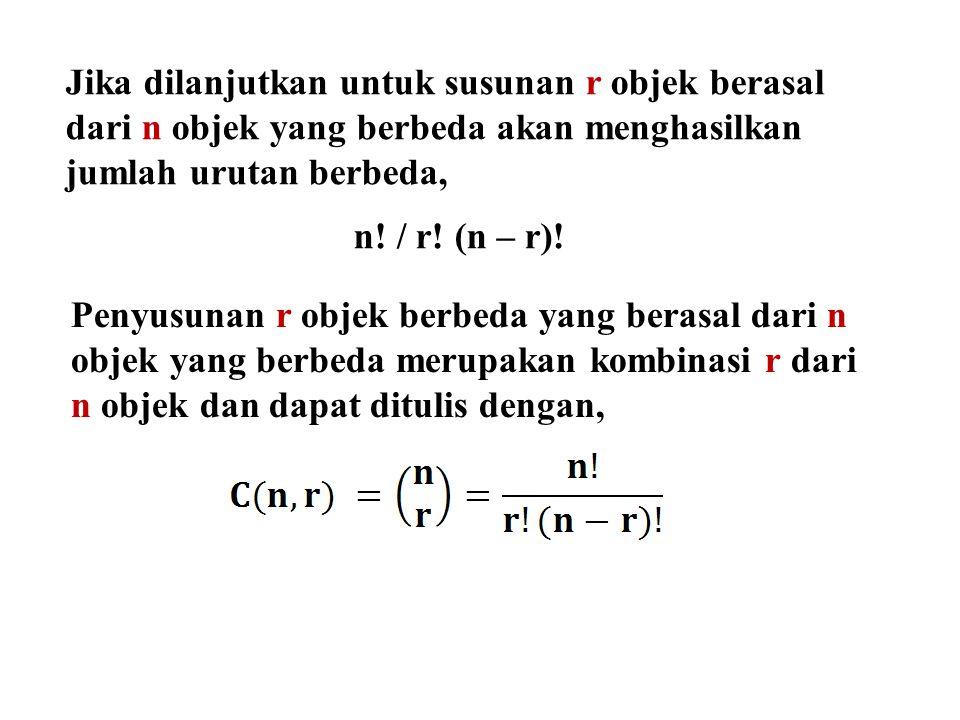 Jika dilanjutkan untuk susunan r objek berasal dari n objek yang berbeda akan menghasilkan jumlah urutan berbeda,