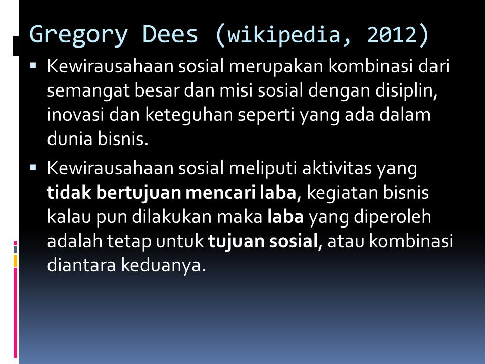 Gregory Dees (wikipedia, 2012)