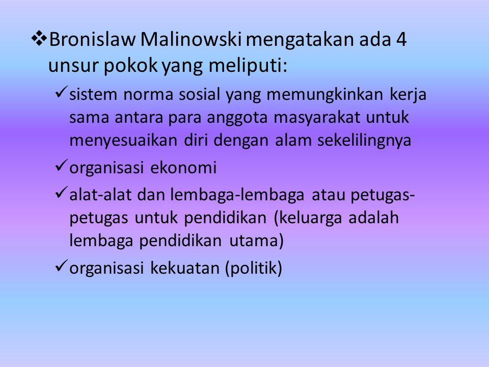 Bronislaw Malinowski mengatakan ada 4 unsur pokok yang meliputi: