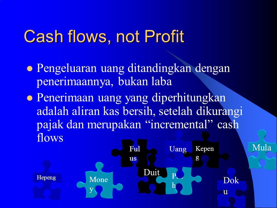 Cash flows, not Profit Pengeluaran uang ditandingkan dengan penerimaannya, bukan laba.