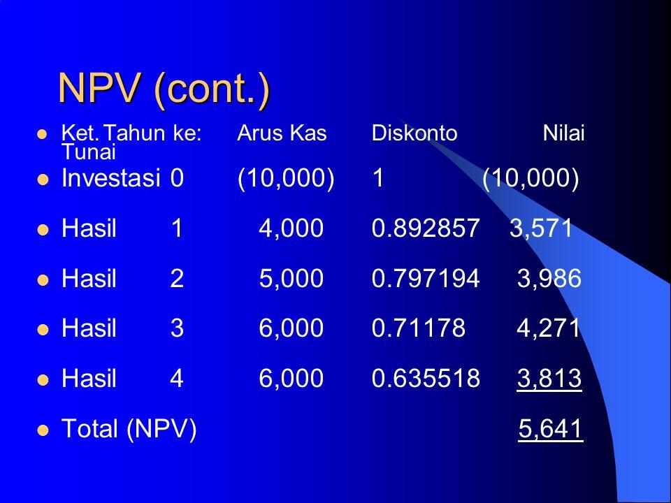 NPV (cont.) Investasi 0 (10,000) 1 (10,000)