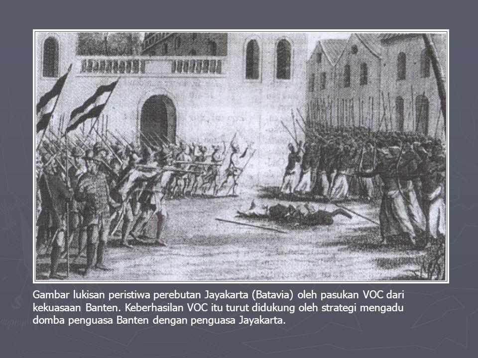 Gambar lukisan peristiwa perebutan Jayakarta (Batavia) oleh pasukan VOC dari