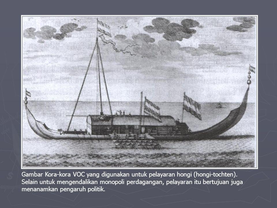 Gambar Kora-kora VOC yang digunakan untuk pelayaran hongi (hongi-tochten).