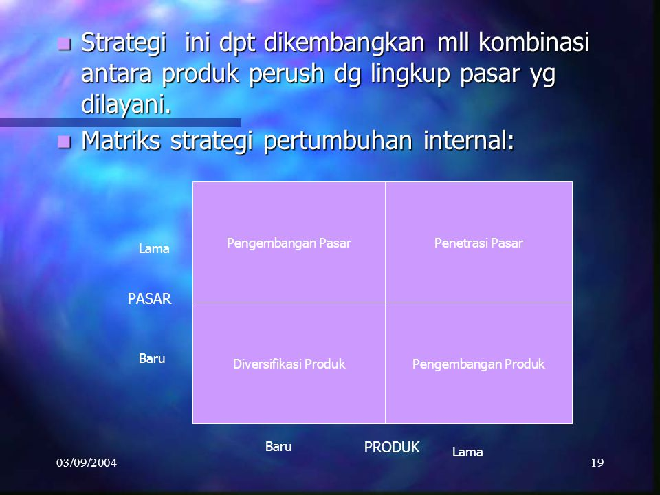 Matriks strategi pertumbuhan internal: