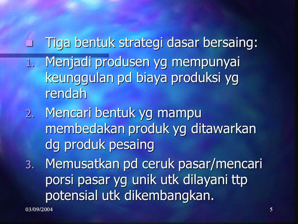 Tiga bentuk strategi dasar bersaing: