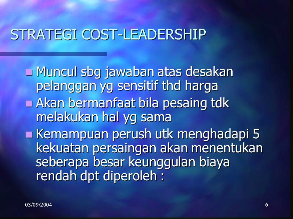 STRATEGI COST-LEADERSHIP