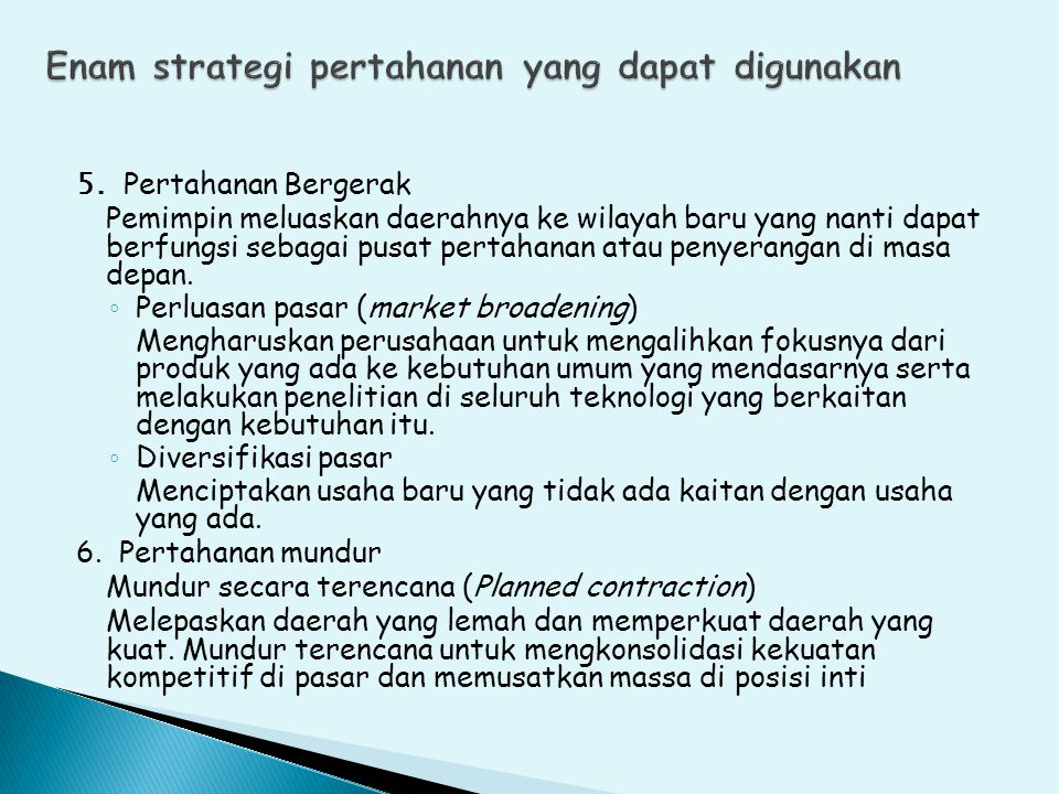 Enam strategi pertahanan yang dapat digunakan