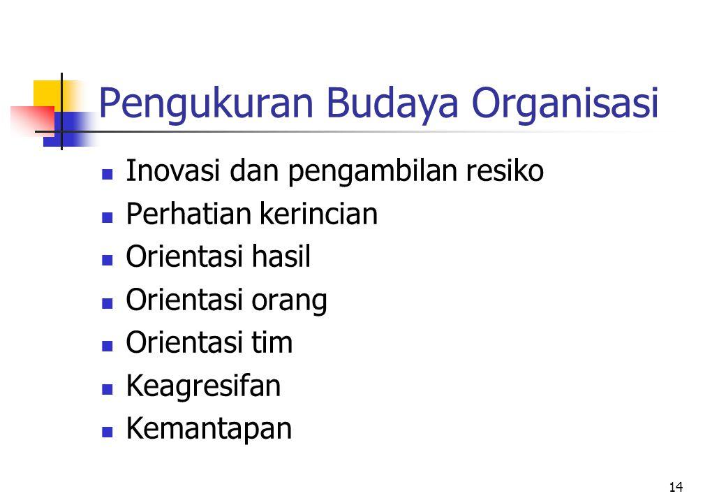 Pengukuran Budaya Organisasi