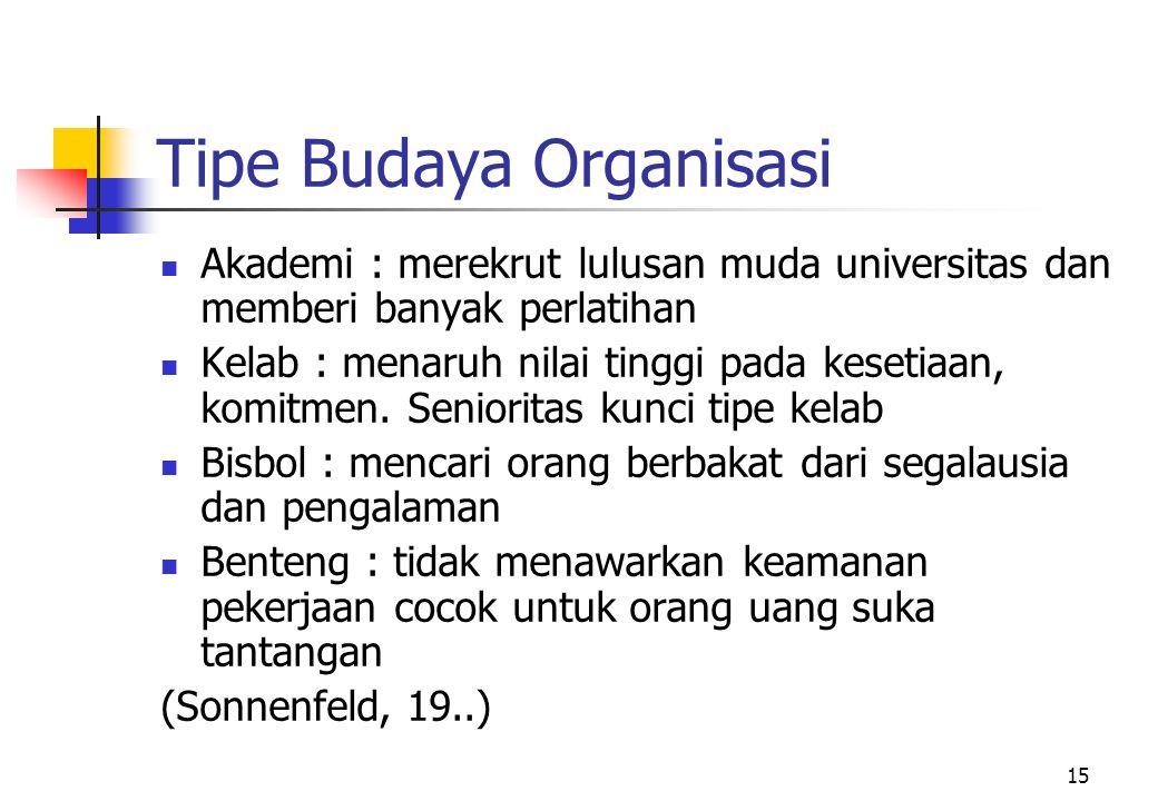 Tipe Budaya Organisasi