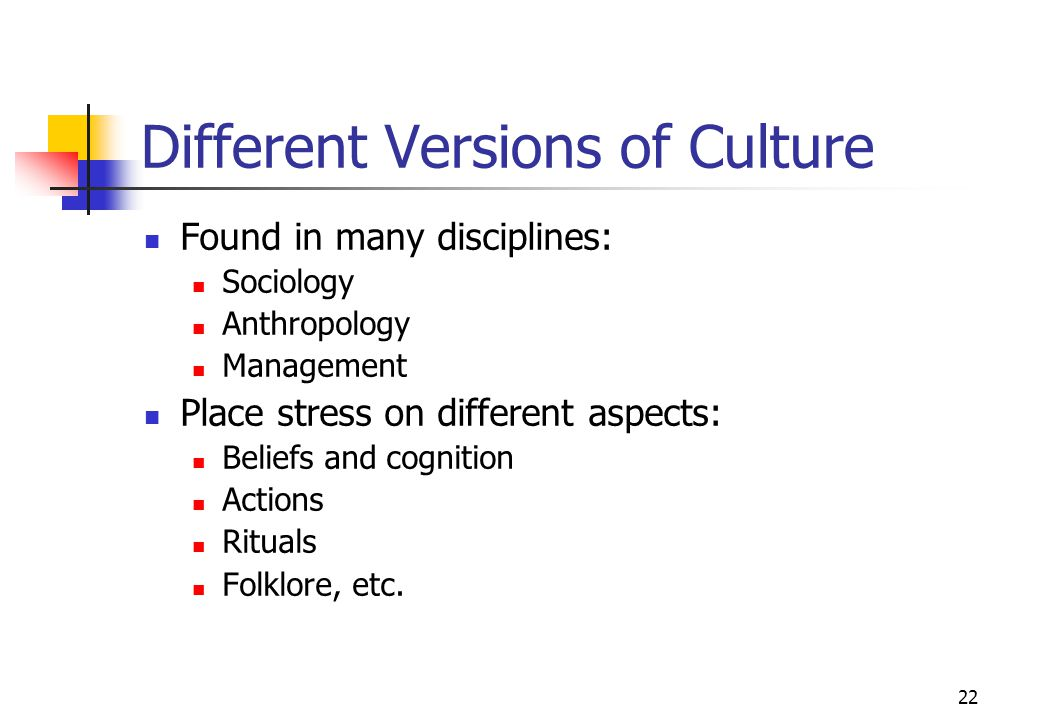 Different Versions of Culture