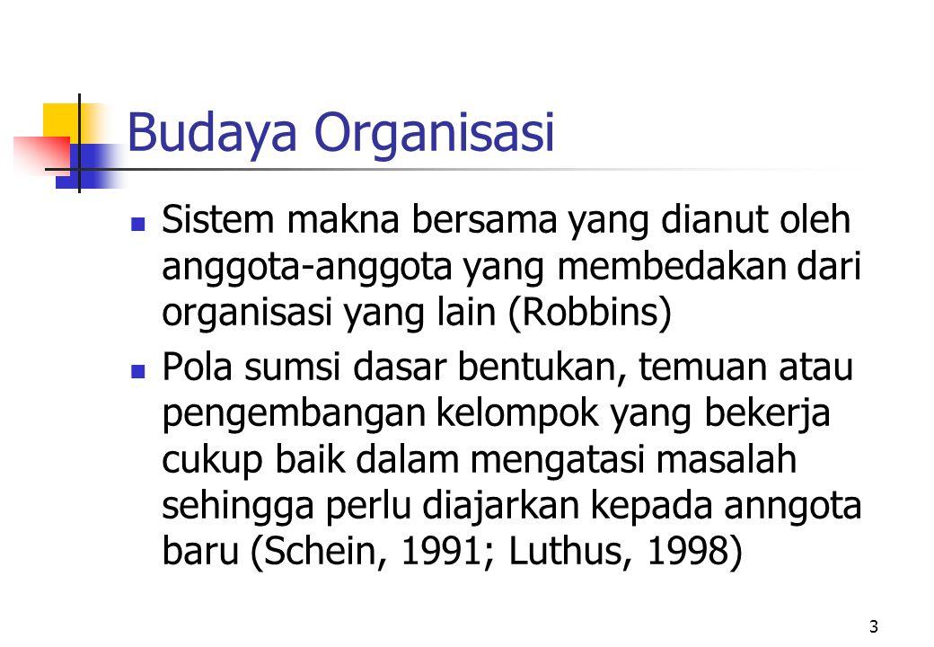 Budaya Organisasi Sistem makna bersama yang dianut oleh anggota-anggota yang membedakan dari organisasi yang lain (Robbins)