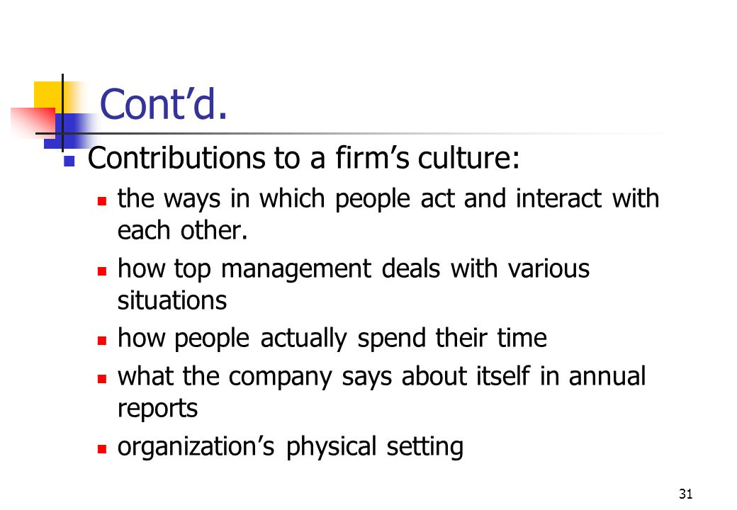 Cont'd. Contributions to a firm's culture:
