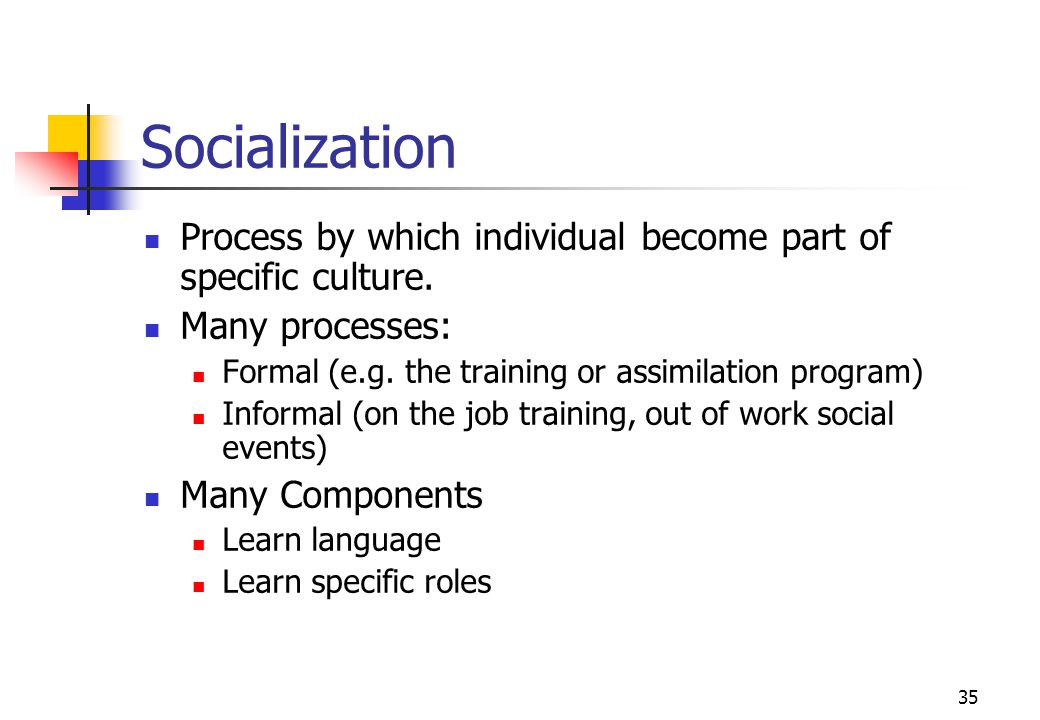 Socialization Process by which individual become part of specific culture. Many processes: Formal (e.g. the training or assimilation program)
