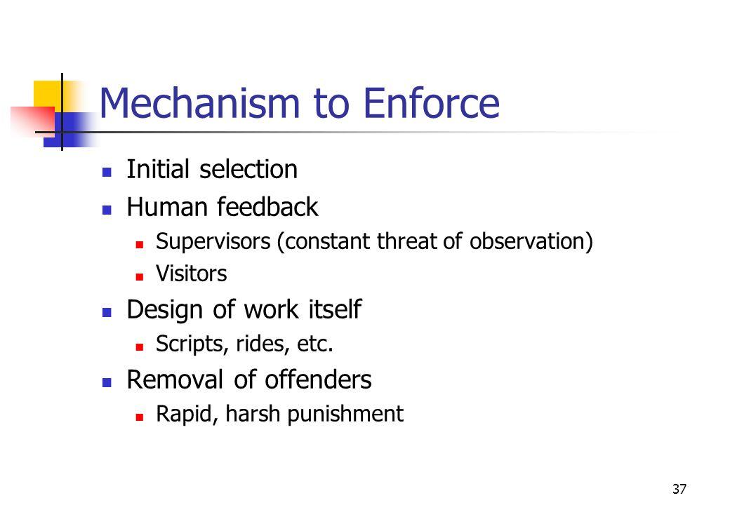 Mechanism to Enforce Initial selection Human feedback
