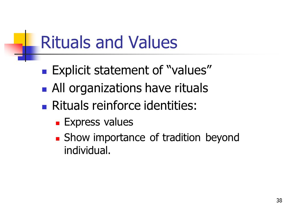 Rituals and Values Explicit statement of values