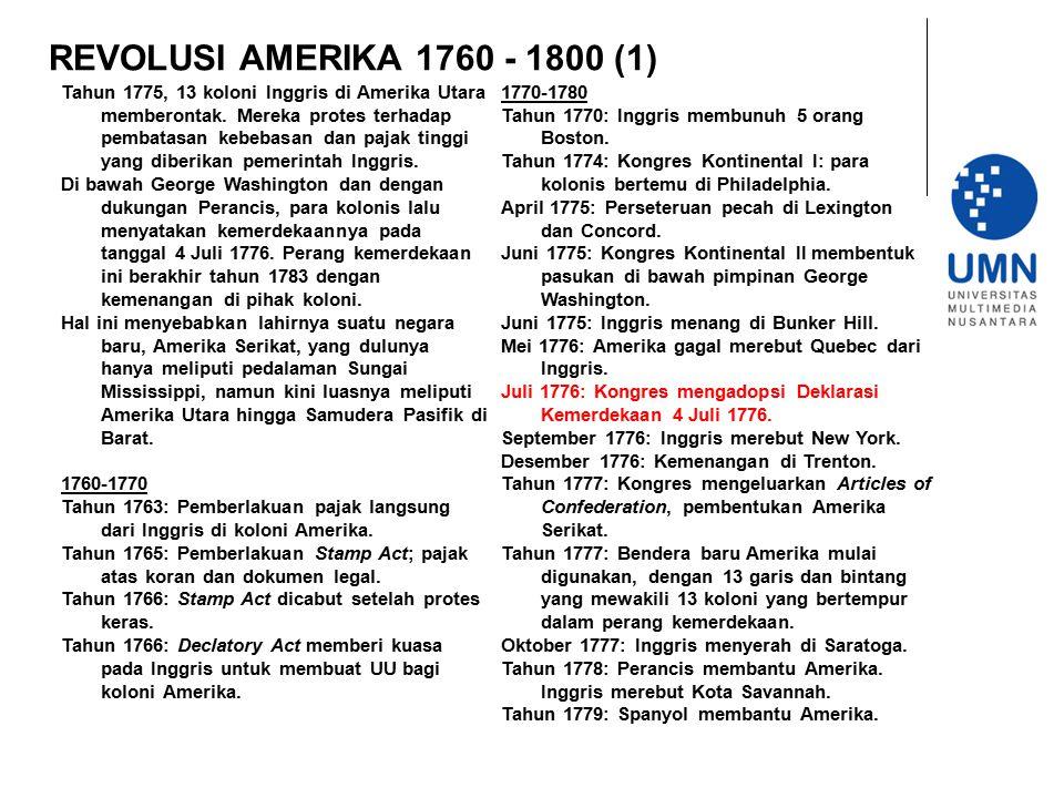 REVOLUSI AMERIKA 1760 - 1800 (1)