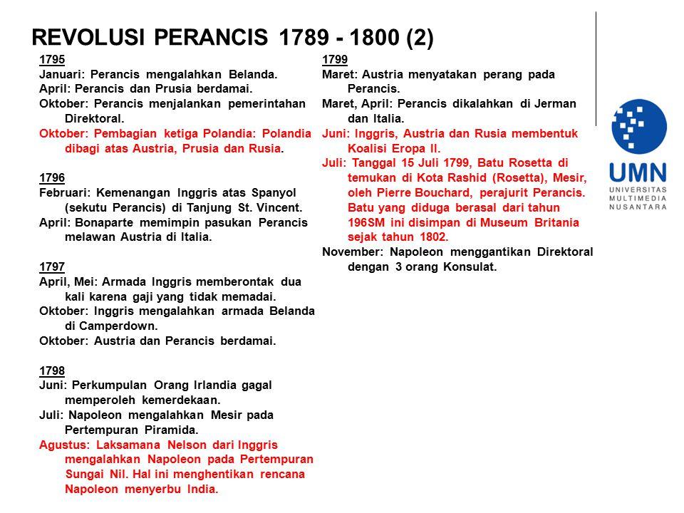 REVOLUSI PERANCIS 1789 - 1800 (2) 1795. Januari: Perancis mengalahkan Belanda. April: Perancis dan Prusia berdamai.