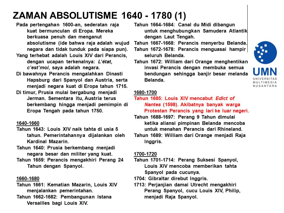 ZAMAN ABSOLUTISME 1640 - 1780 (1)