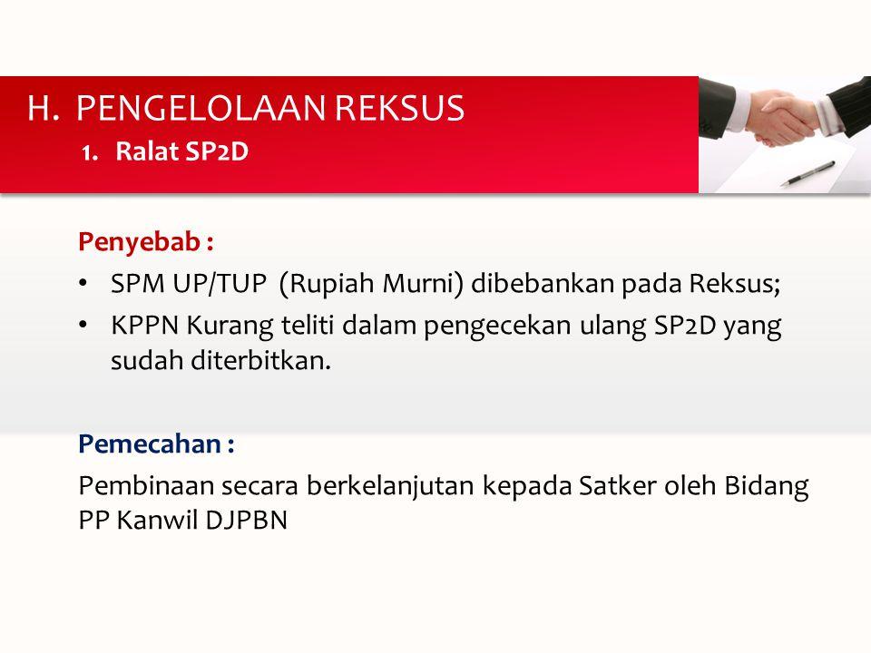Pengelolaan Reksus Ralat SP2D Penyebab :
