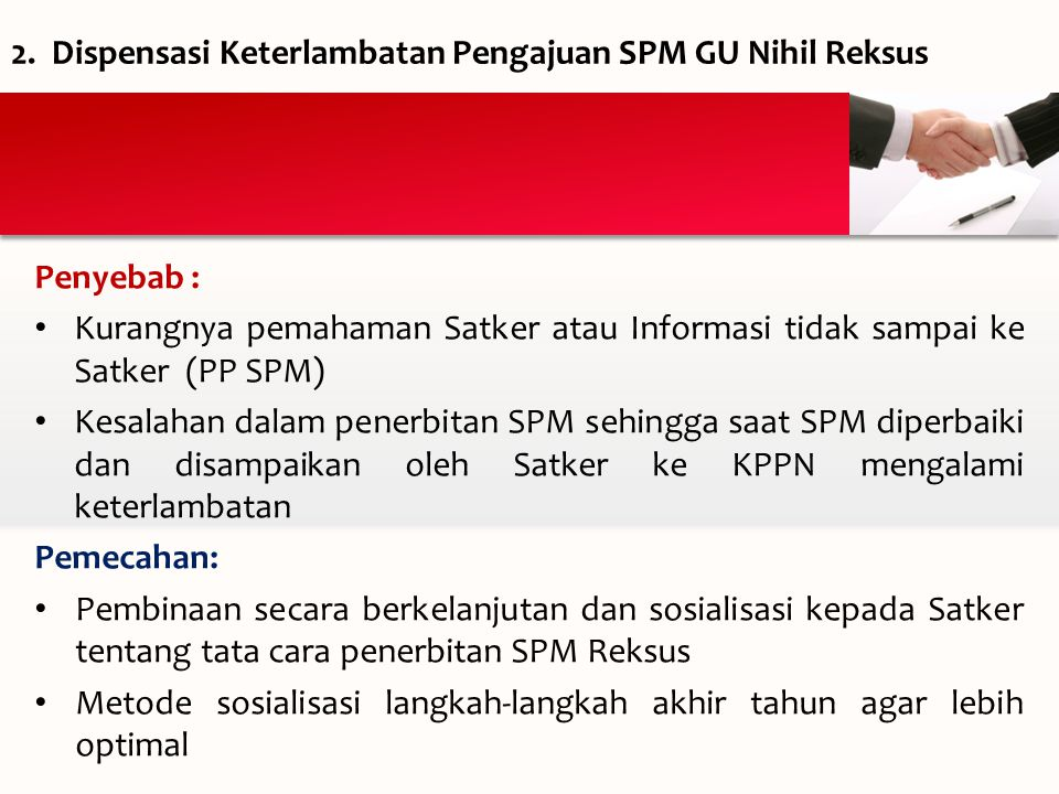 Dispensasi Keterlambatan Pengajuan SPM GU Nihil Reksus