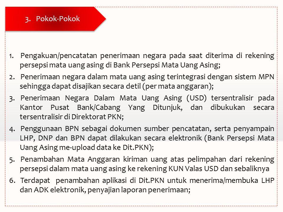 Pokok-Pokok Pengakuan/pencatatan penerimaan negara pada saat diterima di rekening persepsi mata uang asing di Bank Persepsi Mata Uang Asing;