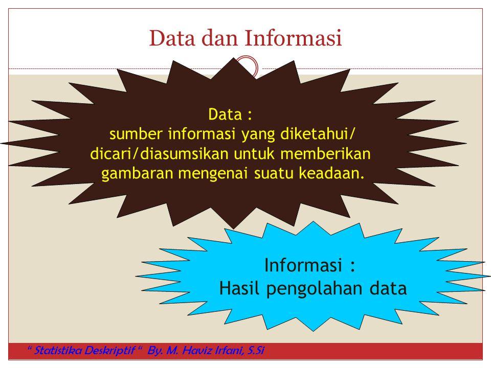 Data dan Informasi Informasi : Hasil pengolahan data Data :