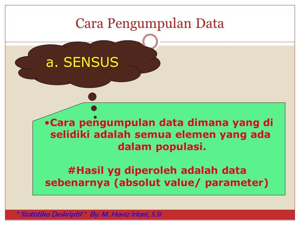 Cara Pengumpulan Data a. SENSUS Cara pengumpulan data dimana yang di