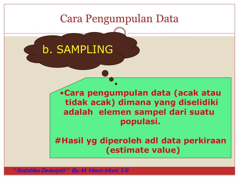 Cara Pengumpulan Data b. SAMPLING Cara pengumpulan data (acak atau