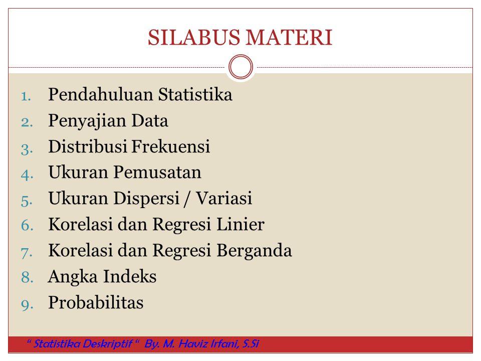 SILABUS MATERI Pendahuluan Statistika Penyajian Data