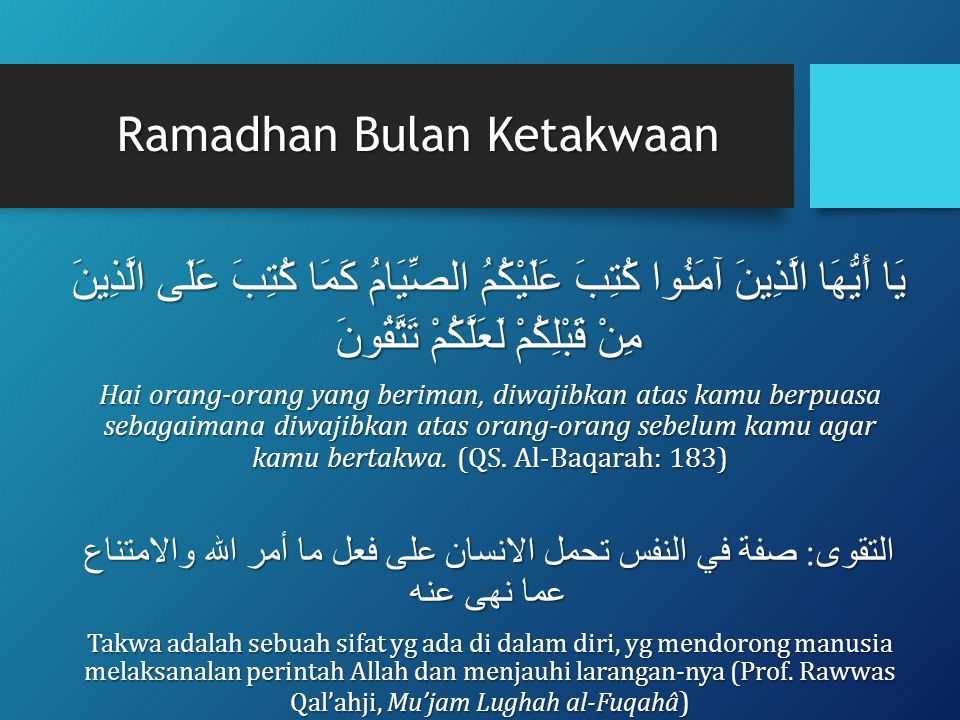 Ramadhan Bulan Ketakwaan