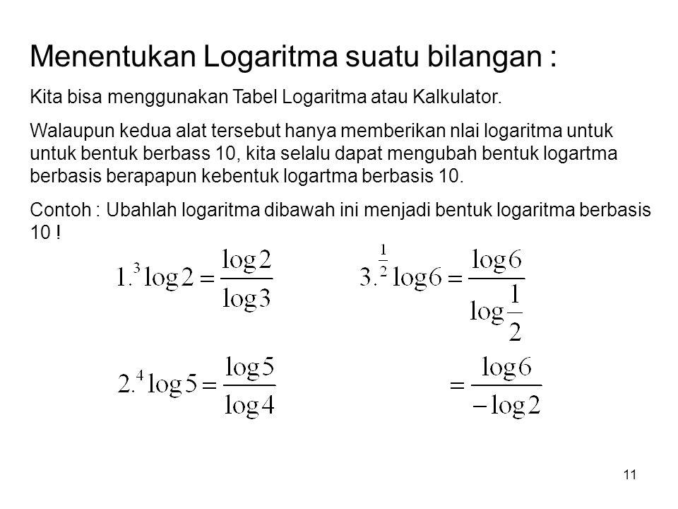 Menentukan Logaritma suatu bilangan :