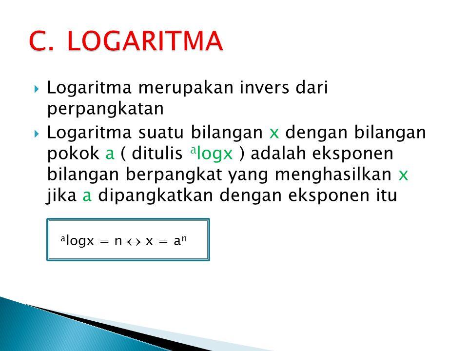 LOGARITMA Logaritma merupakan invers dari perpangkatan