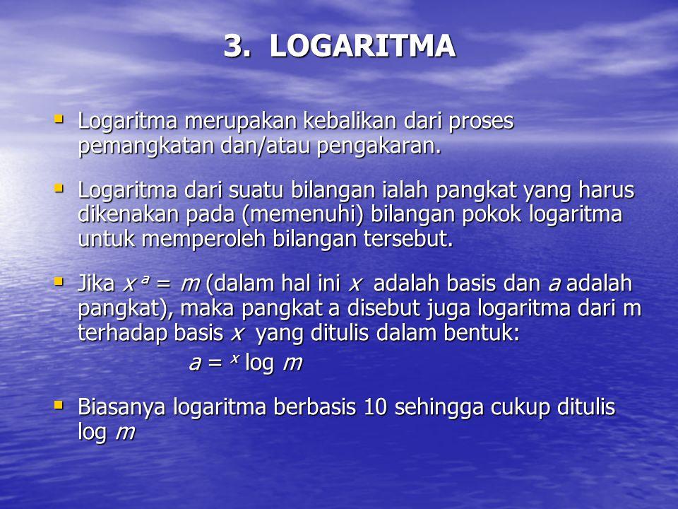 3. LOGARITMA Logaritma merupakan kebalikan dari proses pemangkatan dan/atau pengakaran.