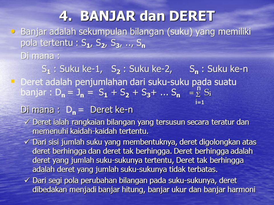 4. BANJAR dan DERET Di mana : Dn = Deret ke-n