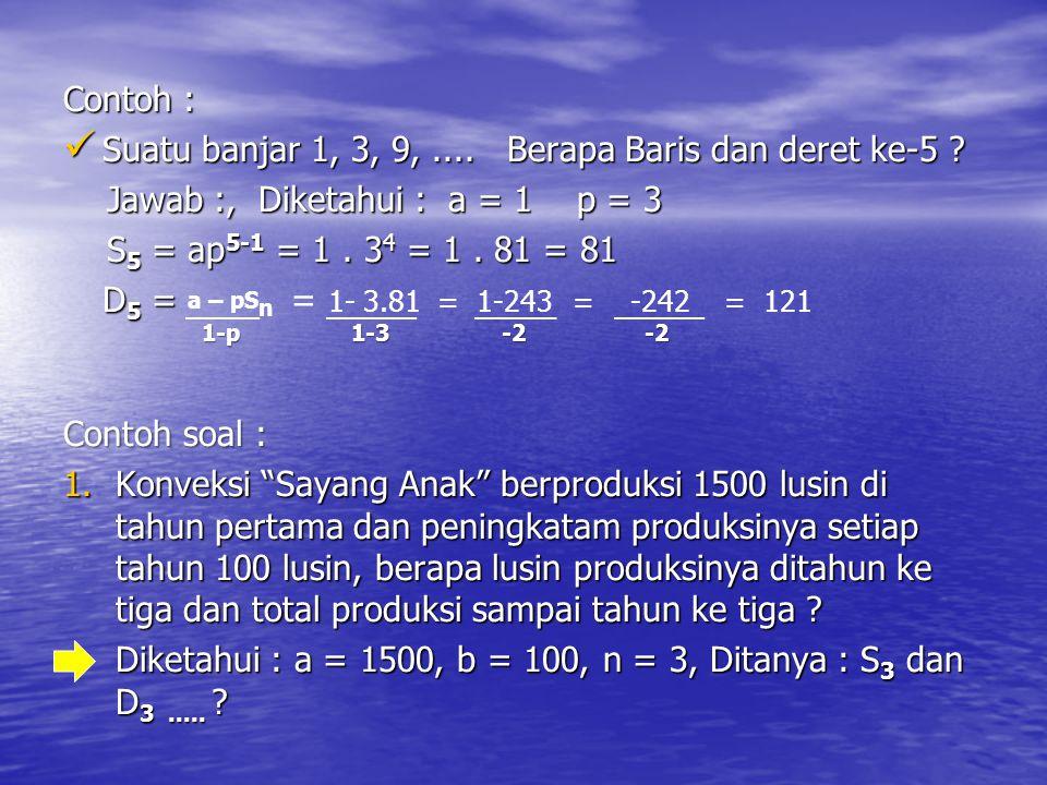 Contoh : Suatu banjar 1, 3, 9, .... Berapa Baris dan deret ke-5 Jawab :, Diketahui : a = 1 p = 3.