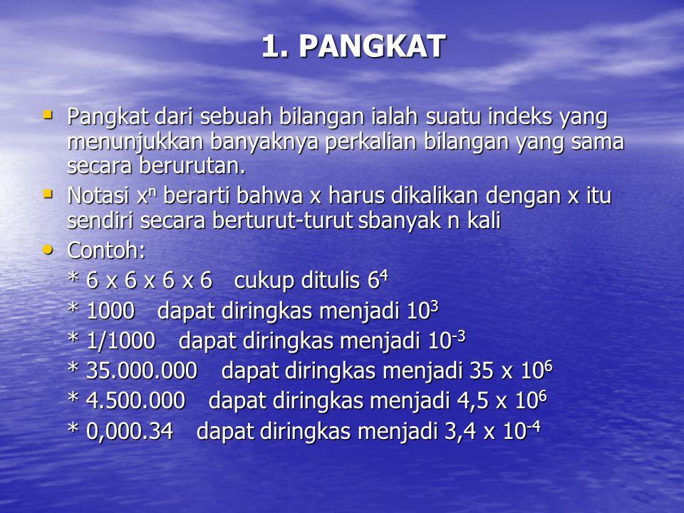 1. PANGKAT Pangkat dari sebuah bilangan ialah suatu indeks yang menunjukkan banyaknya perkalian bilangan yang sama secara berurutan.