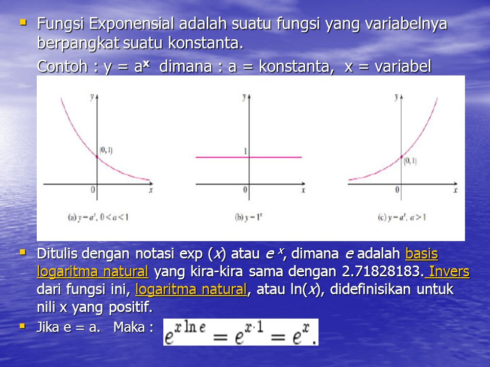 Contoh : y = ax dimana : a = konstanta, x = variabel