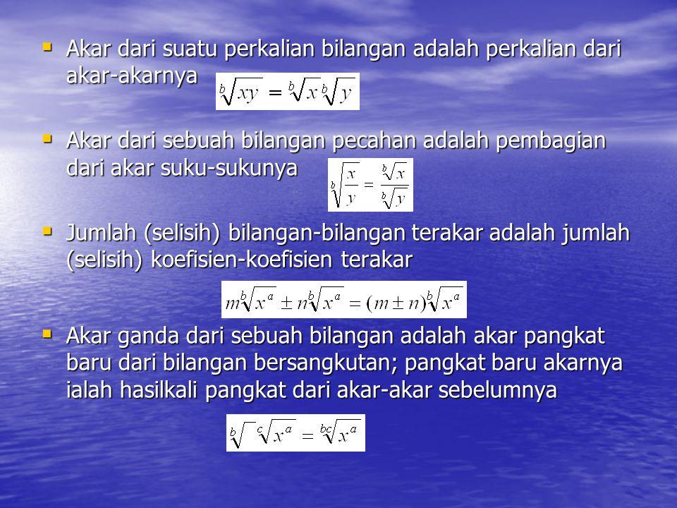 Akar dari suatu perkalian bilangan adalah perkalian dari akar-akarnya