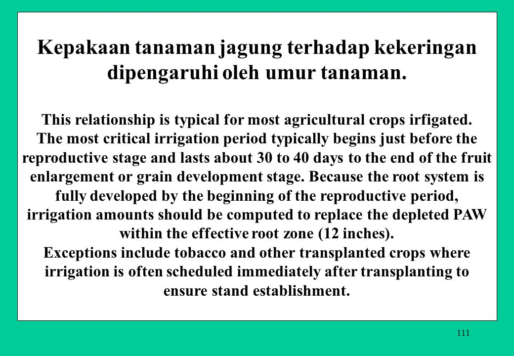 This relationship is typical for most agricultural crops irfigated.